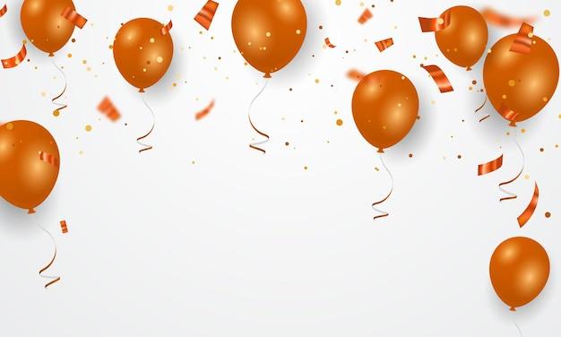 Balões e confetes laranja Vetor Premium