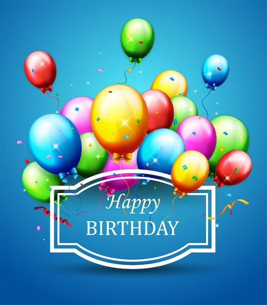 Balões e confetes para festas de aniversário Vetor Premium