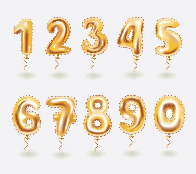 Balões e fitas de brinquedo dourado. dígito numérico. férias e festa. Vetor Premium