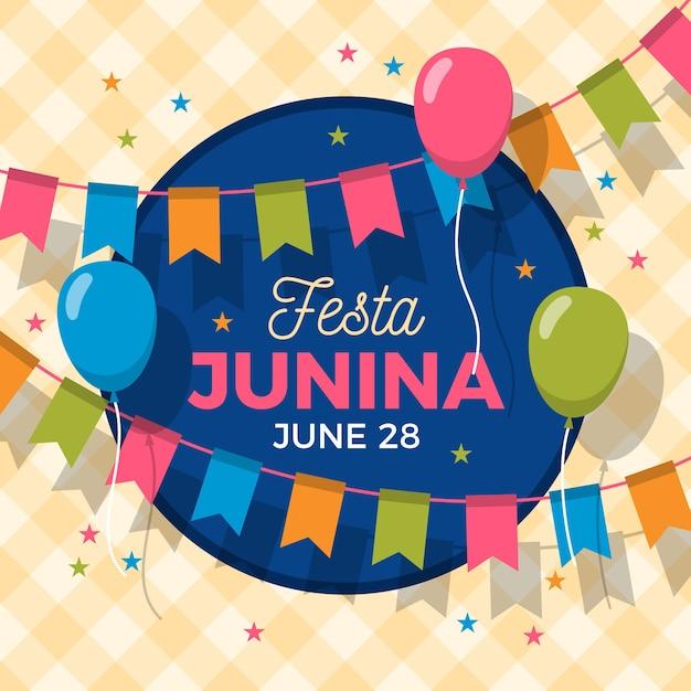 Balões e guirlandas de festa junina de design plano Vetor grátis