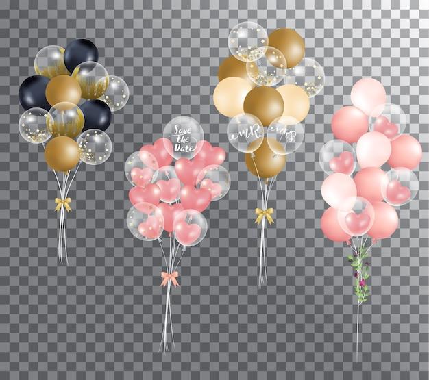 Balões em fundo transparente Vetor Premium