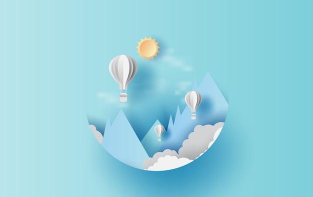 Balões flutuam no céu azul Vetor Premium