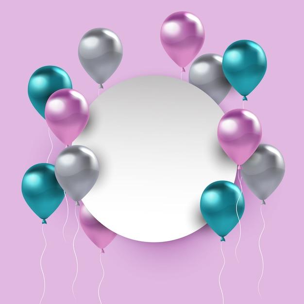 Balões realistas com banner em branco Vetor grátis