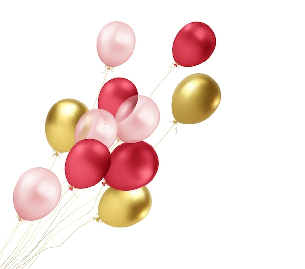 Balões realistas de ouro, vermelho e rosa voando isolado no fundo branco. elemento de design para saudação Vetor Premium
