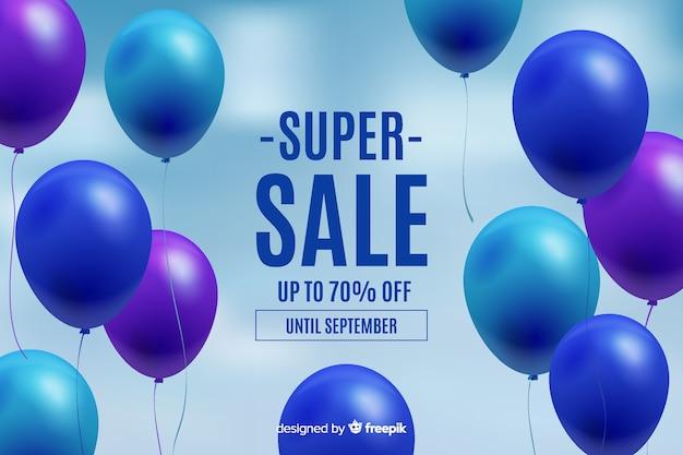 Balões realistas flutuando fundo de vendas Vetor grátis