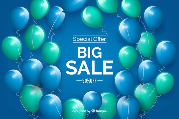 Balões realistas grande fundo de vendas Vetor grátis