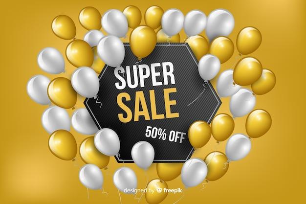 Balões realistas super vendas fundo Vetor grátis