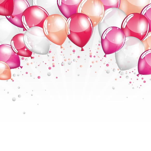 Balões rosa e brancos Vetor Premium