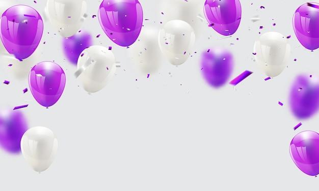 Balões roxos confetes e fitas, Vetor Premium