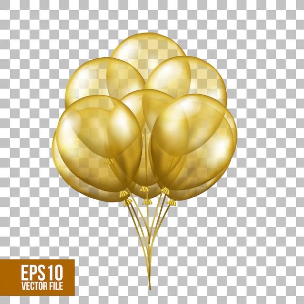 Balões transparentes de ouro voando 3d Vetor Premium