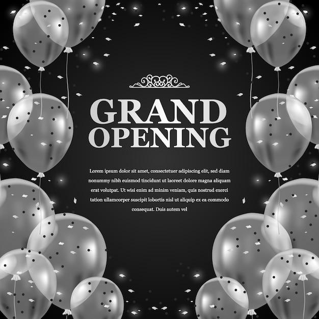 Balões transparentes voadores de prata 3d com confete e fundo preto para o anúncio do cartaz de inauguração Vetor Premium