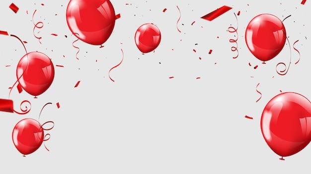 Balões vermelhos, confetes conceito design plano de fundo Vetor Premium