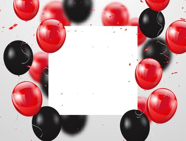 Balões vermelhos e pretos celebração fundo Vetor Premium