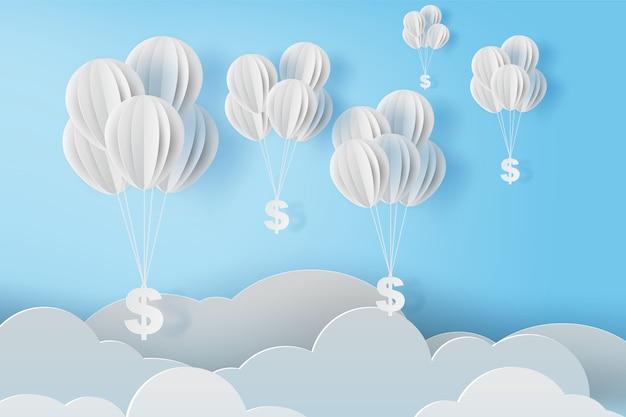 Balões voam com cifrão no céu azul. Vetor Premium