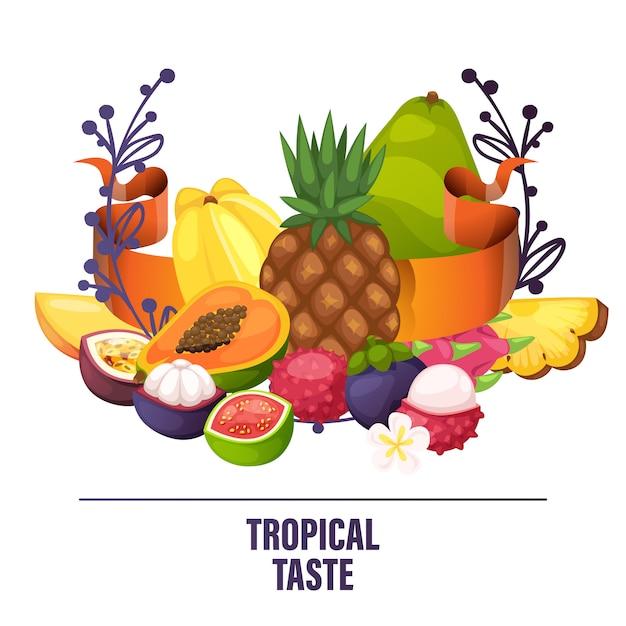 Banana de maçã frutada e fatias frescas de mamão exótico de ilustração de laranja suculenta tropical Vetor Premium