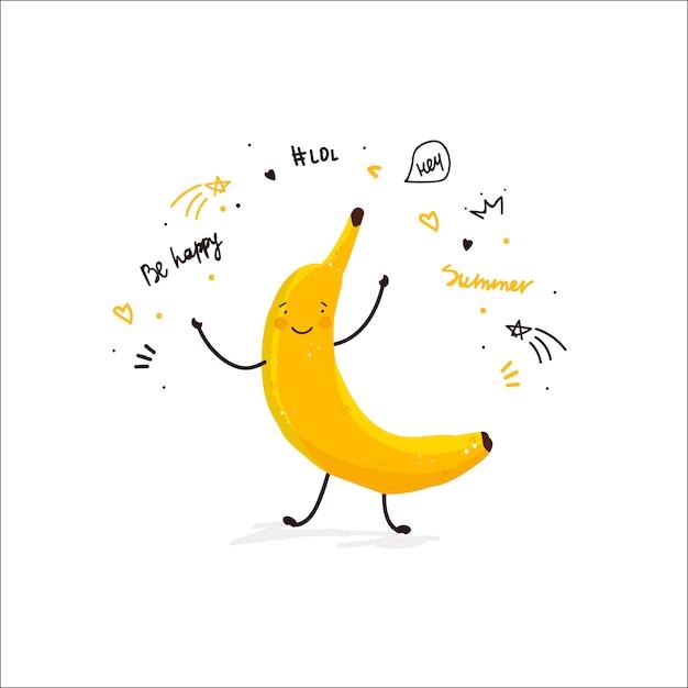 Banana fruta bonito dos desenhos animados doodle desenho ilustração cartão de verão Vetor grátis
