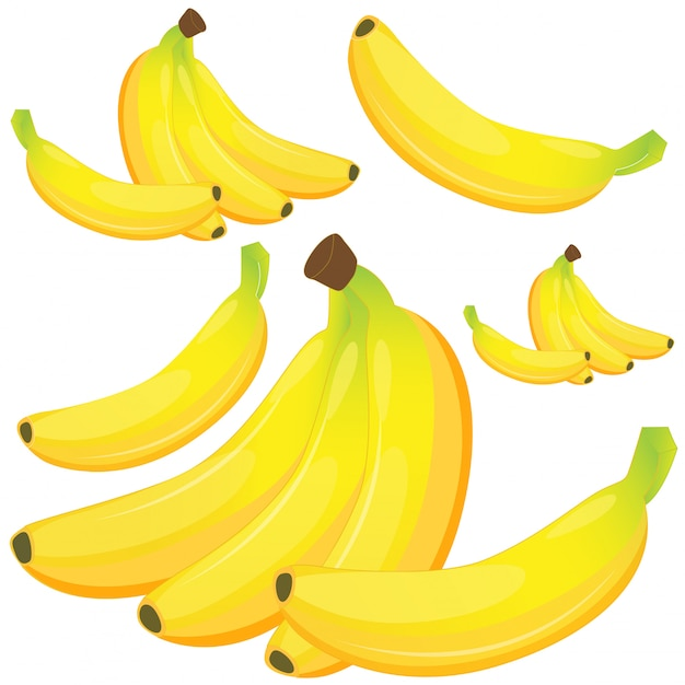 Banana no fundo branco Vetor grátis