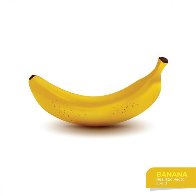 Banana realista isolada no branco Vetor Premium