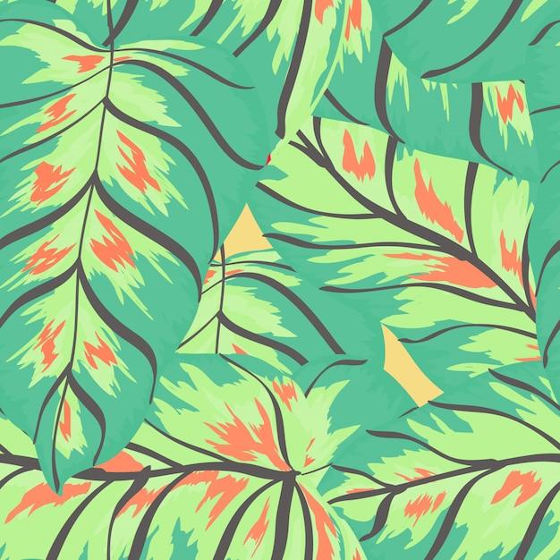 Banana tropical folhas padrão sem emenda exótico de impressão floral. Vetor Premium