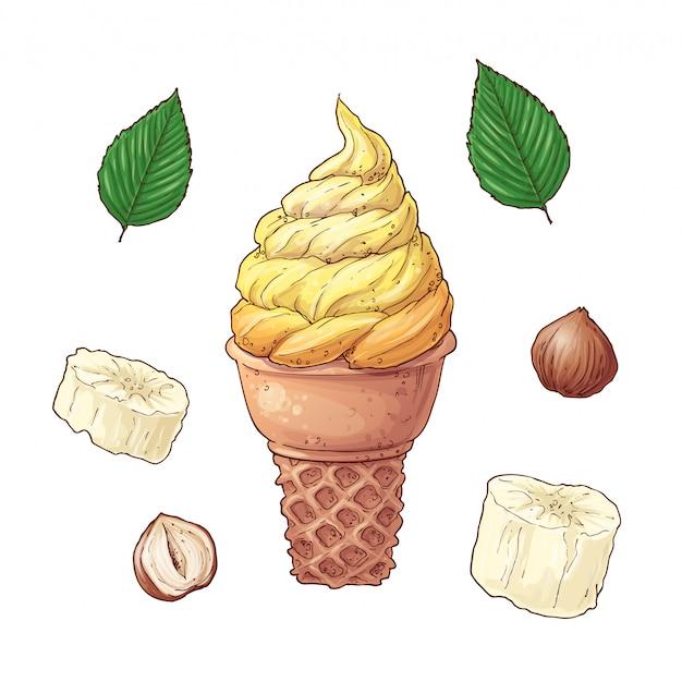 Bananas de desenho animado e sorvete Vetor Premium