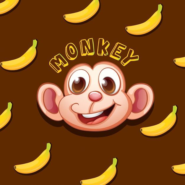 Bananas e cara de macaco Vetor grátis