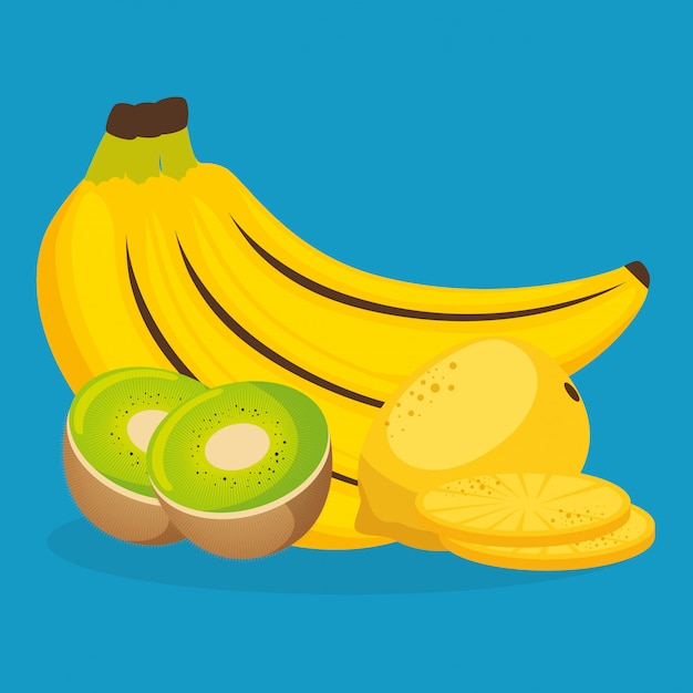 Bananas frescas e kiwi com goiaba Vetor grátis