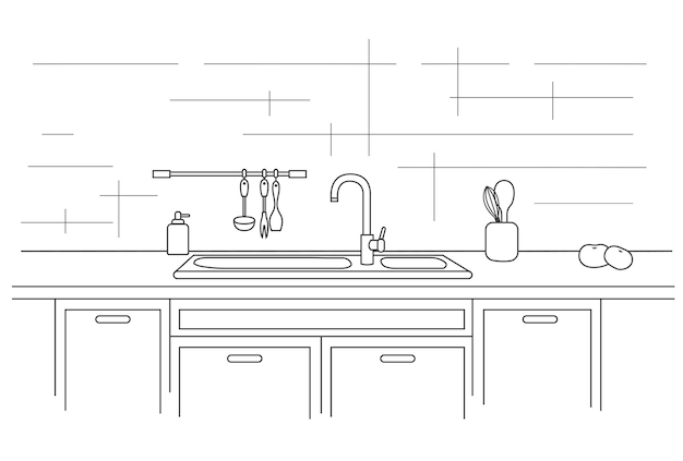 Bancada de cozinha com pia. ilustração linear. Vetor Premium