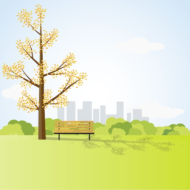 Bancada sob a árvore grande no parque da cidade, design de estilo de estilo plano Vetor Premium