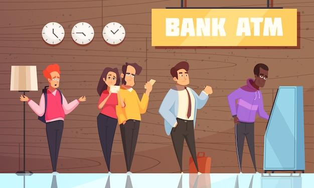 Banco atm pessoas Vetor grátis