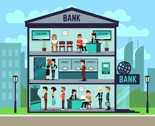 Banco de construção com pessoas e funcionários do banco nos escritórios. conceito de vetor bancário e finanças Vetor Premium