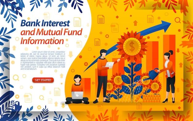 Banco de juros e fundo mútuo com ilustrações regando flores Vetor Premium