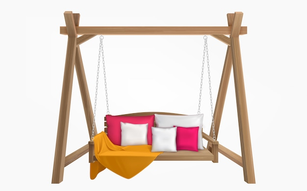 Banco de madeira com almofadas e cobertor Vetor grátis