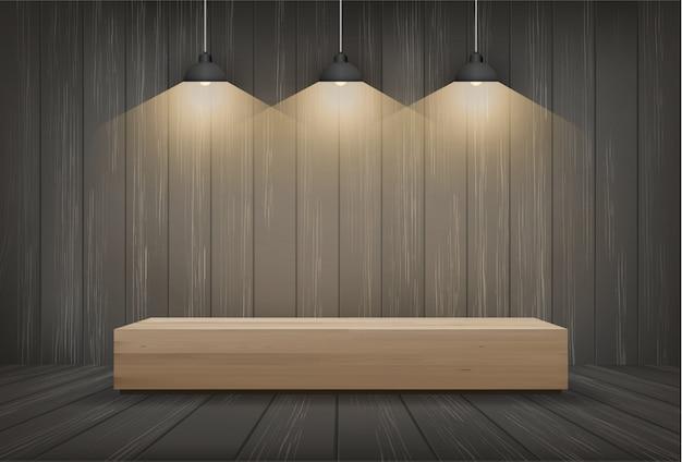 Banco de madeira no fundo do espaço da sala escura com ampola. Vetor Premium