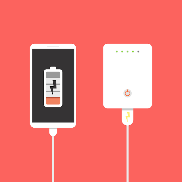 Banco de potência conectado ao smartphone por cabo usb Vetor Premium