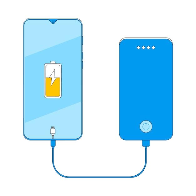 Banco do poder que carrega a ilustração do vetor do smartphone. Vetor Premium