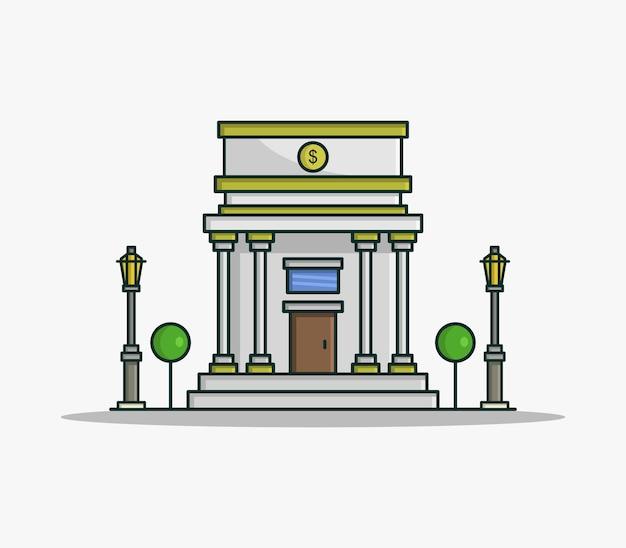 Banco ilustrado cartoon Vetor Premium