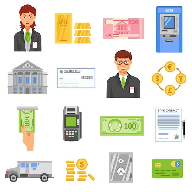 Banco isolado ícones de cor Vetor grátis