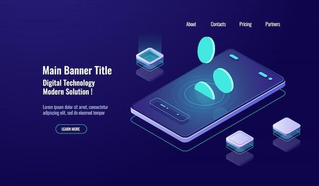 Banco on-line bancário conceito, celular com queda de moeda, pagamento on-line, gestão de finanças escuro Vetor grátis