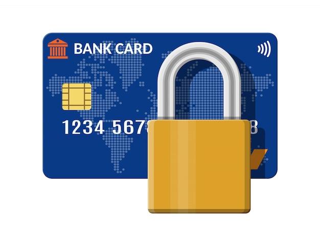 Banco ou cartão de crédito com trava. Vetor Premium