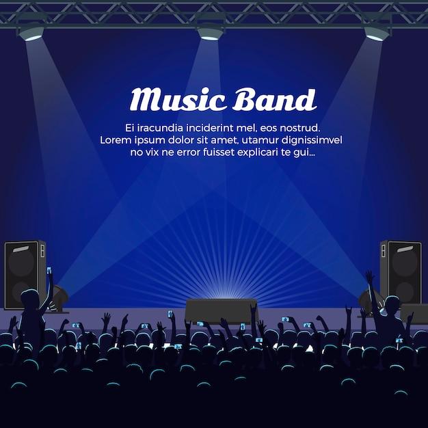 Banda de música concerto no grande palco com holofotes Vetor Premium