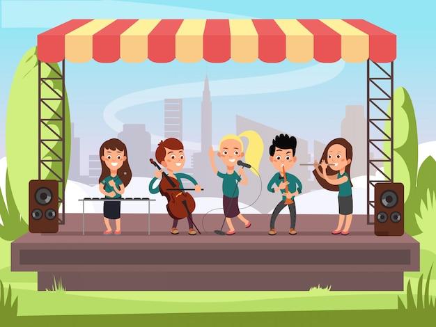 Banda de música de crianças tocando no palco em ilustração vetorial festival ao ar livre Vetor Premium