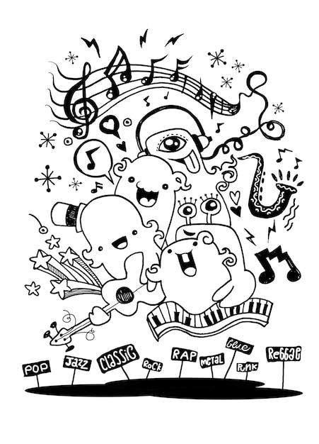Banda de música de monstro tocando estilo music.doodle Vetor Premium