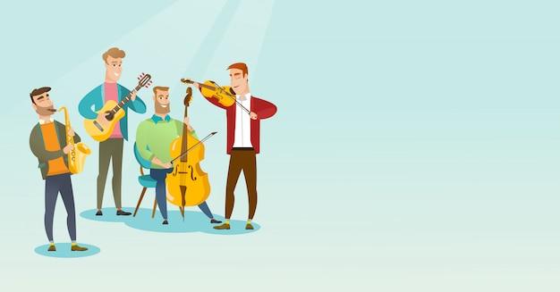 Banda de músicos tocando instrumentos musicais. Vetor Premium