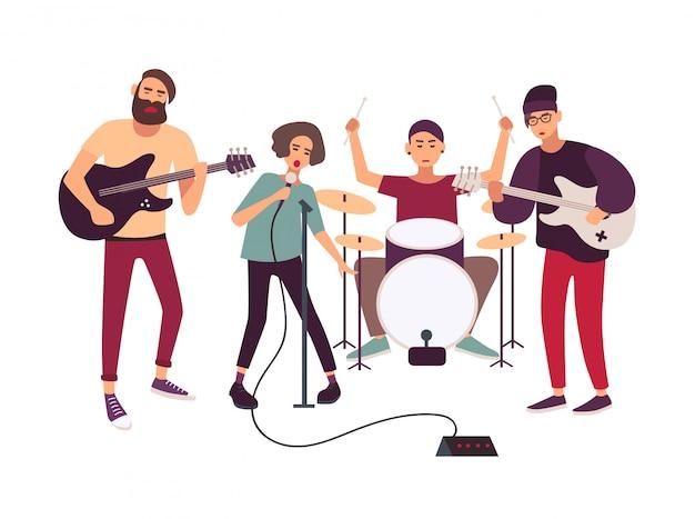 Banda de rock indie tocando no palco ou ensaiando. Vetor Premium