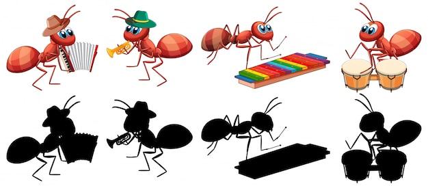 Banda musical de formigas com sua silhueta Vetor grátis