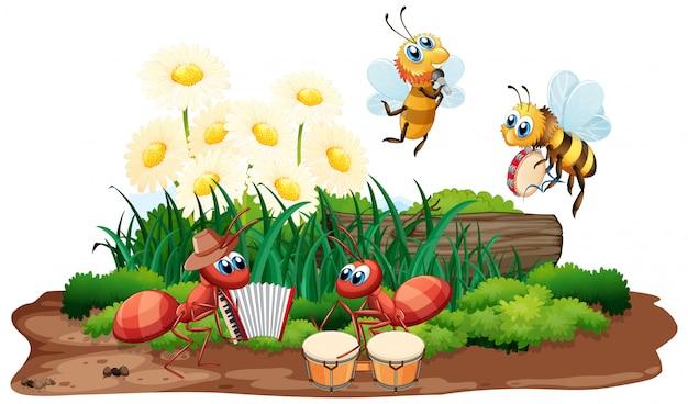 Banda musical de insetos tocando na natureza Vetor Premium
