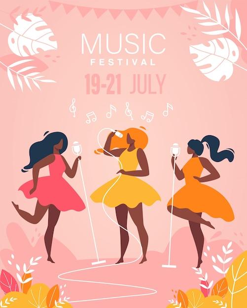 Banda musical de meninas do festival de música executar no cartaz de palco Vetor Premium