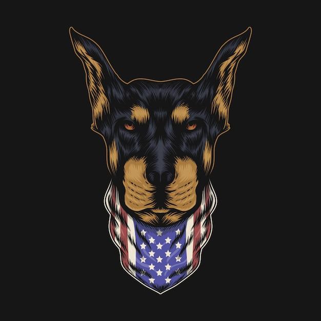 Bandana de cabeça de cachorro doberman Vetor Premium