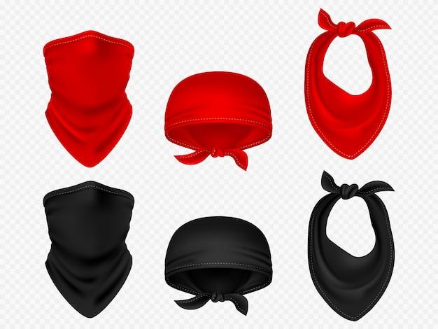 Bandanas de cabeça, lenço de pescoço e conjunto de vetor realista Vetor Premium
