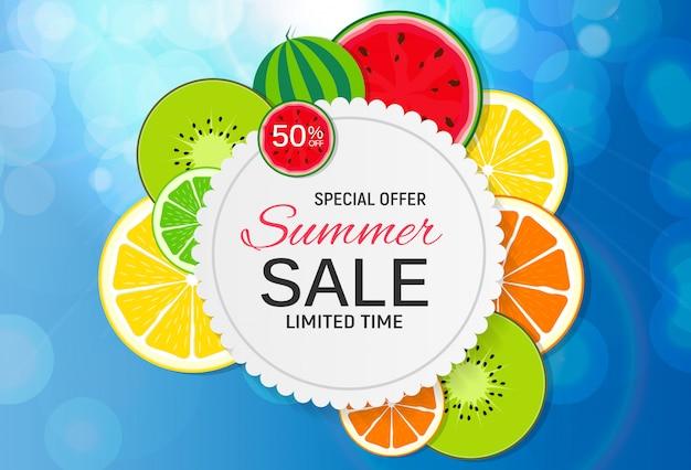 Bandeira abstrata da venda do verão com frutas frescas. ilustração vetorial Vetor Premium
